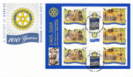 New Zealand 2005 FDC Scott #2001b Sheet Of 6 Plus Labels Rotary - Rotary, Lions Club