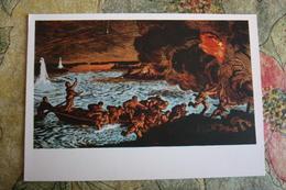 "CHINA  - Art Postcard Ghu Yuan ""Yangtze River Battle""   - Old PC 1957 - Flag - War - Military - China"