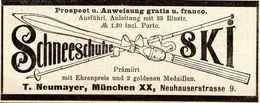 Original-Werbung/ Anzeige 1894 - SCHNEESCHUHE / SKI - NEUMAYER - MÜNCHEN - Ca. 80 X 35 Mm - Werbung