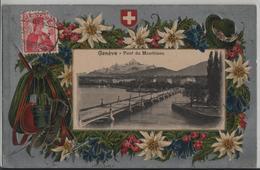 Geneve - Pont Du Montblanc - Edelweiss Präge Relief Karte - Photo: Guggenheim - GE Genf