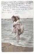 Belgische Kust / Littoral Belge - Kinderen In De Zee - Enkele Rug - 1905 - Gekleurd - België