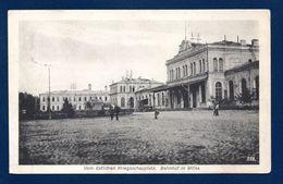 Lituanie. Vilnius, La Gare. Bahnhof In Wilna. Censure Mulhausen. Feldpost Camouflé Juin 1917 - Lituanie