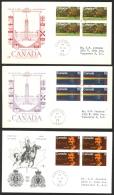 Canada Sc# 612-614 (Rose Craft Cachet) FDC Set/3 (b) (blocks) 1973 03.09 RCMP Centenary - 1971-1980