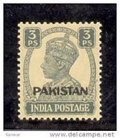 1941 BRITISH INDIA 3P O/P PAKISTAN KGV1 MINT NEVER HINGED STAMP UMM. - Pakistan