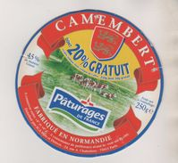 FROMAGE ETIQUETTE CAMEMBERT PATURAGES DE FRANCE - BLASON, TROUPEAU DE VACHES, 20 % GRATUIT - VOIR LE SCANNER - Fromage