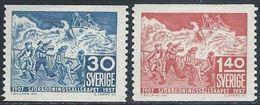 Sweden  1957   Sc#499-500  Swedish Life Saving Society  MH*   2016 Scott Value $9.75 - Sweden