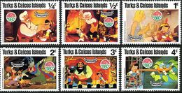 Turks & Caicos Islands 1980 Disney Film Pinocchio Childhood Cartoon Animation Art Cinema Movie Stamps (6) MNH SC#442-450 - Cinema