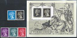 Great Britain  1990  5 Diff QEs & Penny Black Souv Sheet  MNH**    2016 Scott Value $15.55 - 1952-.... (Elizabeth II)
