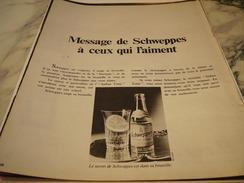 ANCIENNE PUBLICITE MESSAGE DE  SCHWEPPES 1970 - Affiches