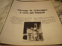 ANCIENNE PUBLICITE MESSAGE DE  SCHWEPPES 1970 - Posters