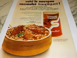ANCIENNE PUBLICITE  CASSOULET SAUPIQUET 1970 - Posters
