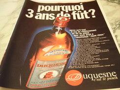 ANCIENNE PUBLICITE  RHUM DUQUESNE  1970 - Alcools