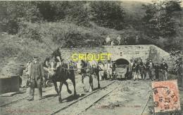 54 Ludres, Sortie De La Mine, Beau Plan Des Ouvriers Et De Chevaux Qui Tractent Des Wagonnets..., Affranchie 1909 - France