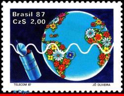 Ref. BR-2099 BRAZIL 1987 - TELECOMMUNICATION, TELECOM 87, GENEVA,, BRAZILSAT, SPACE, GLOBE, SATELLITE, MNH,1V Sc# 2099 - Space