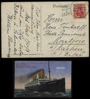 S5978 - DR Schiffpost Postkarte ,Schnelldampfer Kaiser Wilhelm: Gebraucht Seepost Bremen - New York - Aachen 1914 , Be - Germania