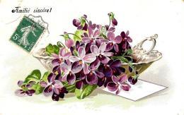 [DC10806] CPA - FIORI - IN RILIEVO - Viaggiata - Old Postcard - Blumen