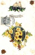 [DC10807] CPA - FIORI CON FERRO DI CAVALLO DI BUON AUGURIO - IN RILIEVO - Viaggiata 1907 - Old Postcard - Fiori