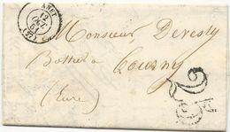 LETTRE 1851 AVEC CACHET A DATE TYPE 15 DE ANET (EURE ET LOIRE) ET CACHET TAXE 25 AU TAMPON - Storia Postale