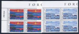 FAROE IS. 1987 Views Of Torshaven In Corner Blocks Of 4 MNH / **.  Michel 160-61 - Faroe Islands