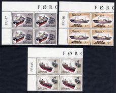 FAROE IS. 1987 Fishing Boats In Corner Blocks Of 4 MNH / **.  Michel 151-53 - Faroe Islands