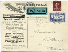 FRANCE CARTE POSTALE PAR AVION AVEC PUBLICITE FRANK MULLER EXPERT......DEPART PARIS 14-9-33 POUR LES PAYS-BAS (RARE) - 1927-1959 Briefe & Dokumente