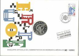 FRANCE MEDAILLE ET TIMBRE =  ENVELOPPE OFFICIELLE DE L ADMINISTRATION DES MONNAIES - 1990-1999