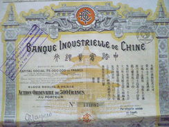 CHINA Action : Banque Industrielle De Chine 1913 - Shareholdings