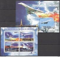 A7 2010 GUINE-BISSAU AVIATION TRAGEDIA DO CONCORDE 1KB+1BL MNH - Concorde