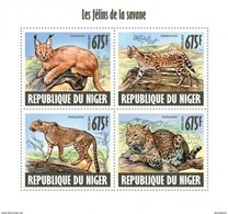 NIGER 2013 SHEET FELINOS FELINES FELINS DE LA SAVANE FELINI RAUBKATZEN WILDLIFE SAVANNAH WILD CATS Nig13603a - Niger (1960-...)