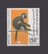 DJIBOUTI  LE SINGE VERT APE APES MONKEY MONKEYS MONOS SINGES GREEN 1993 MNH ** RARE - Djibouti (1977-...)
