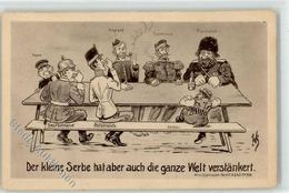 52624310 - Kleiner Serbe Verstaenkert Die Welt - Japan England Frankreich Russland Deutschland Oesterreich - Guerra 1914-18