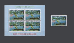 DJIBOUTI 2006 DORALEH PORT BOAT BATEAU SHIP PETROLIER PETROLEUM HARBOR BLOC BLOCK S/S + 1 VAL Michel Mi 808 MNH ** RARE - Djibouti (1977-...)