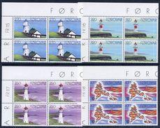 FAROE IS. 1985 Lighthouses In Corner Blocks Of 4 MNH / **.  Michel 121-24 - Faroe Islands