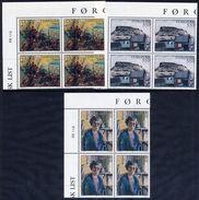 FAROE IS. 1985 Paintings In Corner Blocks Of 4 MNH / **.  Michel 118-20 - Faroe Islands