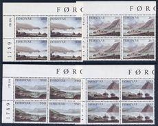 FAROE IS. 1985 Dayes Landscape Paintings In Corner Blocks Of 4 MNH / **.  Michel 112-15 - Faroe Islands
