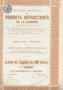 Action Ancienne - Société Anonyme Des Produits Réfractaires De La Sambre - Titre De 1924 - Belgique - Toerisme