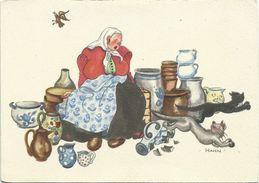AK Künstler Hahn Katzen Flüchten Vor Keramikverkäuferin Nummer 5 Color #2353 - Illustrateurs & Photographes