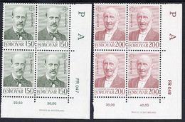 FAROE IS. 1980 Europa: Personalities In Corner Blocks Of 4 MNH / **.  Michel 53-54 - Faroe Islands