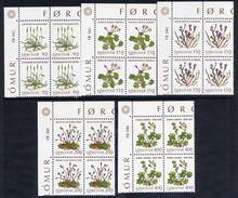 FAROE IS. 1980 Flowers In Corner Blocks Of 4 MNH / **.  Michel 48-52 - Féroé (Iles)