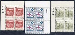 FAROE IS. 1976 Foundation Of Postal Administration In Corner Blocks Of 4 MNH / **.  Michel 21-23 - Faroe Islands