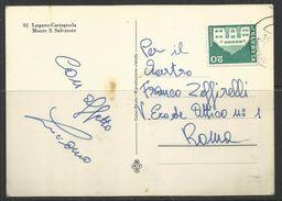 LUGANO CASTAGNOLA 1992 AL REGISTA FRANCO ZEFFIRELLI VIA ERODE ATTICO 1 ROMA DA LUCIANO (PAVAROTTI) CARTOLINA POST CARD - Artisti