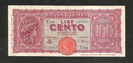 ITALIA - BANCA D' ITALIA - 100 Lire Italia Turrita (1944) LUOGOTENENZA - [ 1] …-1946 : Regno