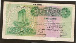 Syrie Billet De Une Livre De 1939 -type Bradbury Sans Surcharge De COuleur Ref 742a Kolsky - Syrie