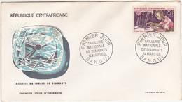 1966 / BANGUI / REPUBLIQUE CENTRAFRICAINE / FDC / PREMIER JOUR D'EMISSION / Taillerie Nationale De Diamants / Timbre 25 - Centrafricaine (République)