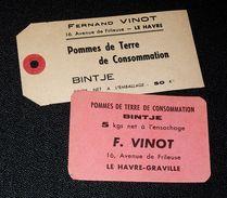 Le Havre Graville - 2 étiquettes Pommes De Terre Bintje Fernand Vinot - Obst Und Gemüse
