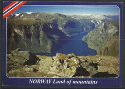 NORWAY NORVEGIA NORGE AURLANDSFJORD LAND OF MOUNTAINS CARTOLINA POST CARD VIAGGIATA - Norvegia