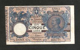 REGNO D' ITALIA - 5 Lire Vittorio Emanuele III (Decr. 19 / 09 / 1923 - Firme: Maltese / Rossolini) - [ 1] …-1946 : Kingdom