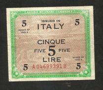 ITALIA - 5 Lire - Allied Military Currency 1943 (BILINGUE) - [ 3] Emissioni Militari