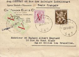 T.P. 670 (2x)+672+677A S/C.P. De LODELINSART (Obl. CHARLEROI Du 28-3-45) à SAINT-GILLES Lez BRUXELLES - 1935-1949 Small Seal Of The State