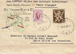 T.P. 670 (2x)+672+677A S/C.P. De LODELINSART (Obl. CHARLEROI Du 28-3-45) à SAINT-GILLES Lez BRUXELLES - 1935-1949 Sellos Pequeños Del Estado